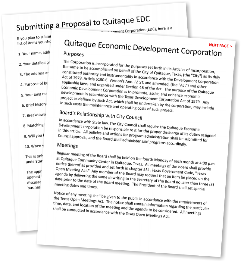 go to Submitting a Proposal to Quitaque Economic Development Corporation, Quitaque, TX 79255 • 806-455-1456